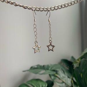 handmade chain star earrings